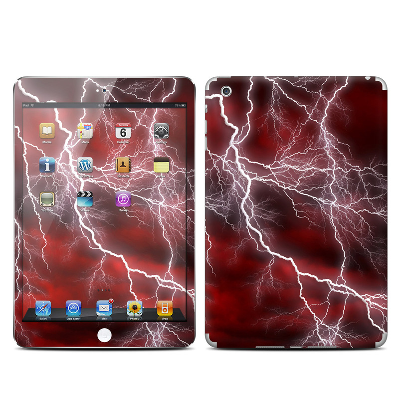 iPad mini 1 Skin design of Thunder, Thunderstorm, Lightning, Red, Nature, Sky, Atmosphere, Geological phenomenon, Lighting, Atmospheric phenomenon with red, black, white colors
