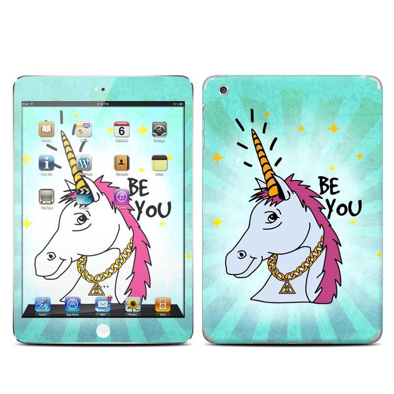 iPad mini 1 Skin design of Illustration, Unicorn, Cartoon, Fictional character, Graphic design, Art, Mythical creature, Livestock, Giraffe, Graphics with blue, white, pink, yellow colors