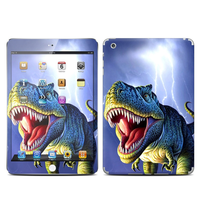 iPad mini 1 Skin design of Dinosaur, Extinction, Tyrannosaurus, Velociraptor, Tooth, Jaw, Organism, Mouth, Fictional character, Art with blue, green, yellow, orange, red colors