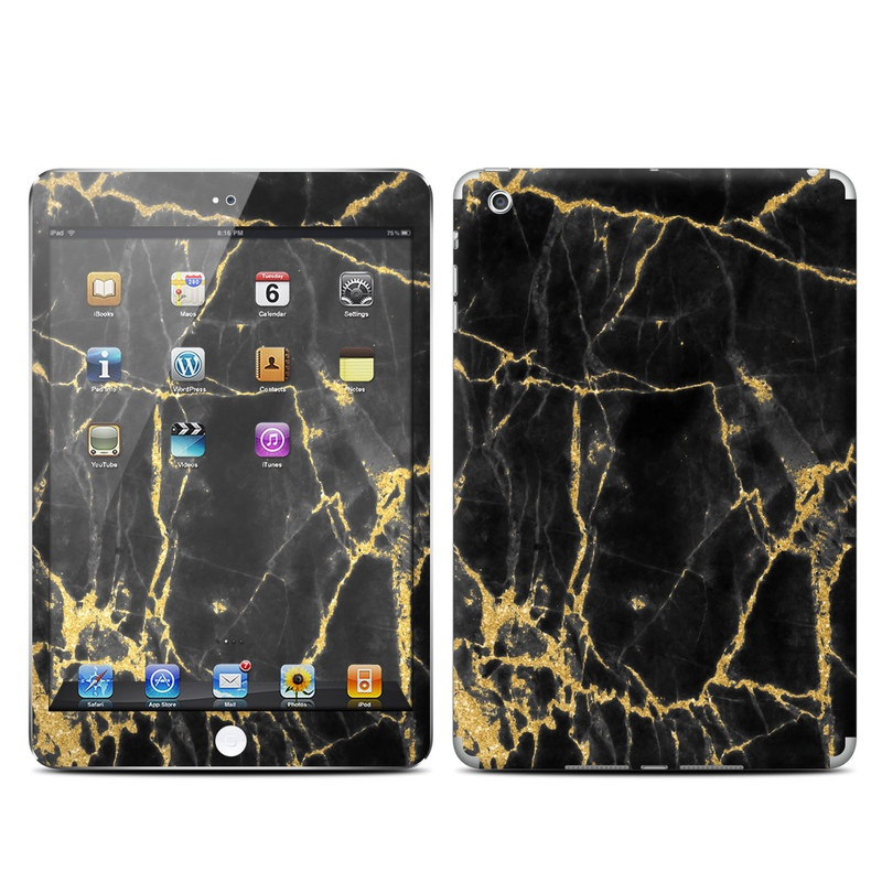 iPad mini 1 Skin design of Black, Yellow, Water, Brown, Branch, Leaf, Rock, Tree, Marble, Sky with black, yellow colors