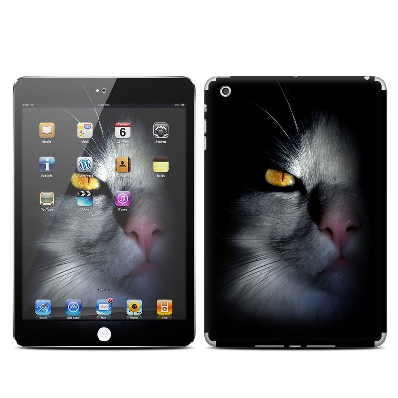 iPad mini 1 Skin design of Cat, Whiskers, Small to medium-sized cats, Felidae, Black, Nose, Darkness, Snout, Eye, Carnivore with black, gray colors