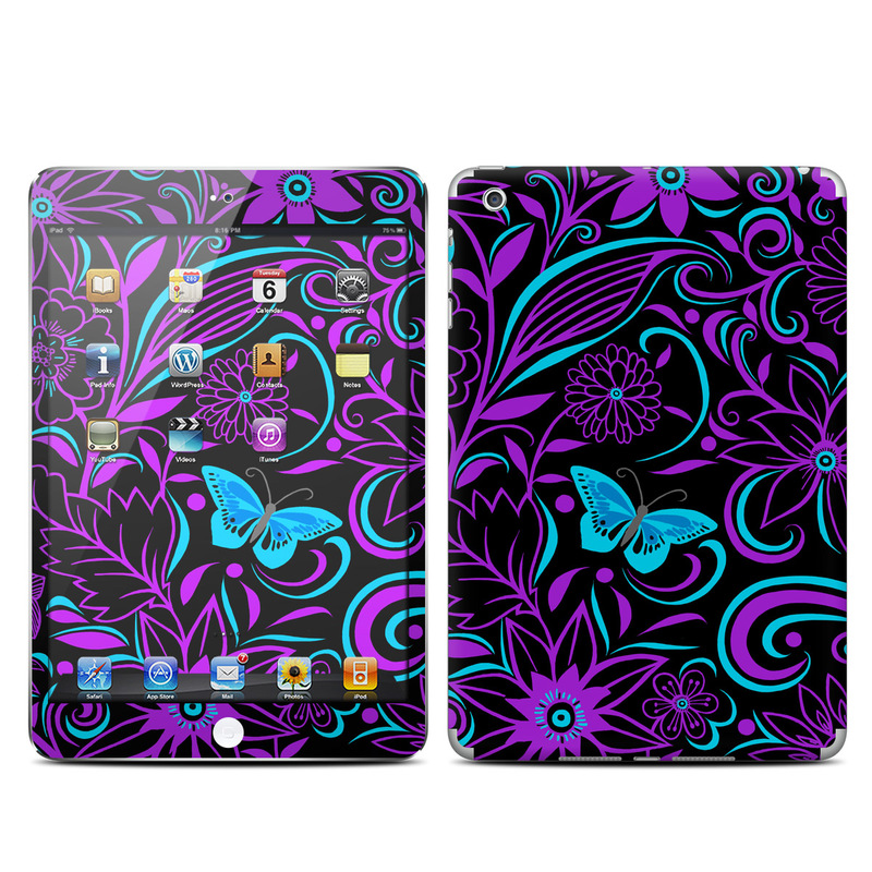 iPad mini 1 Skin design of Pattern, Purple, Violet, Turquoise, Teal, Design, Floral design, Visual arts, Magenta, Motif with black, purple, blue colors
