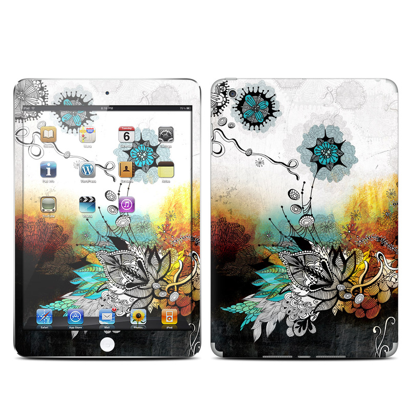 iPad mini 1 Skin design of Graphic design, Illustration, Art, Design, Visual arts, Floral design, Font, Graphics, Modern art, Painting with black, gray, red, green, blue colors