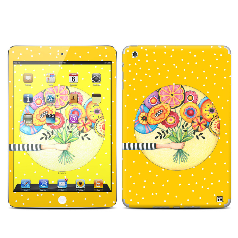 iPad mini 1 Skin design of Circle, Illustration, Clip art, Plant with orange, yellow, pink, gray, green, black colors