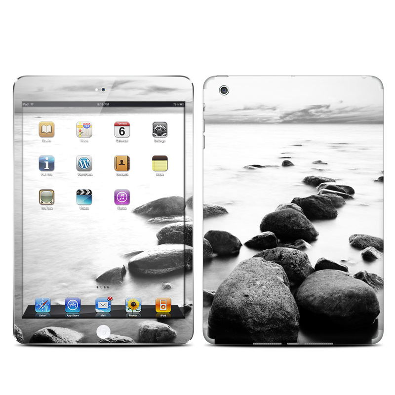 iPad mini 1 Skin design of Body of water, Monochrome photography, Black-and-white, White, Rock, Nature, Water, Shore, Black, Sea with gray, white, black colors