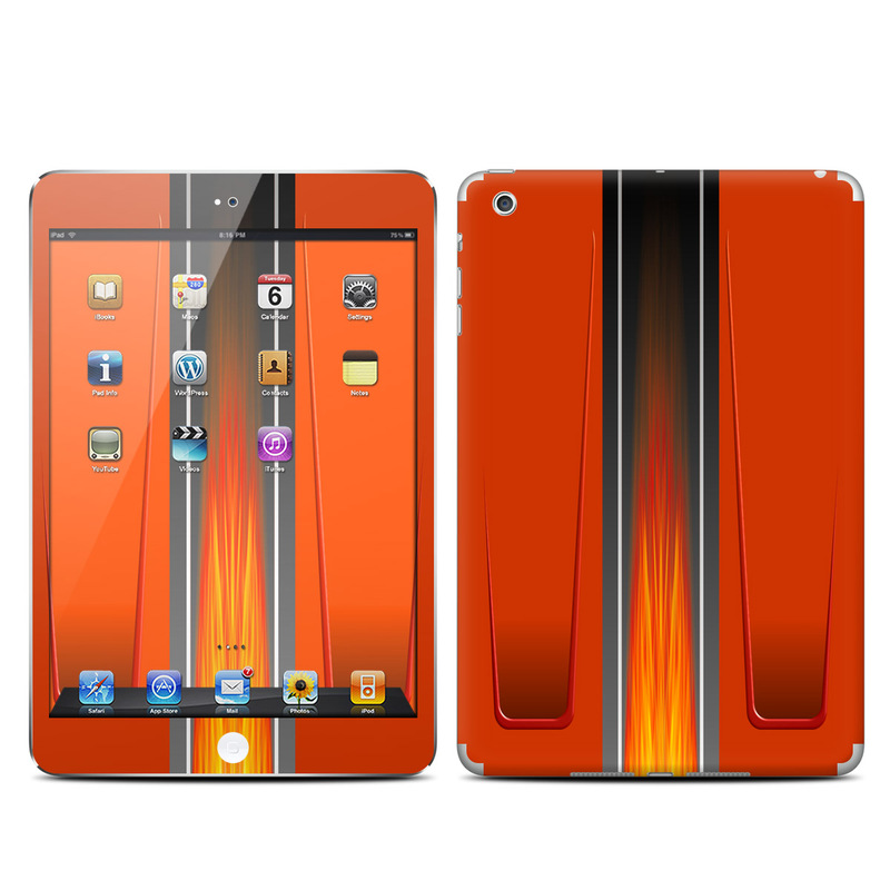 iPad mini 1 Skin design of Orange, Red, Line, Material property, Rectangle, Automotive lighting with red, black, orange, gray colors