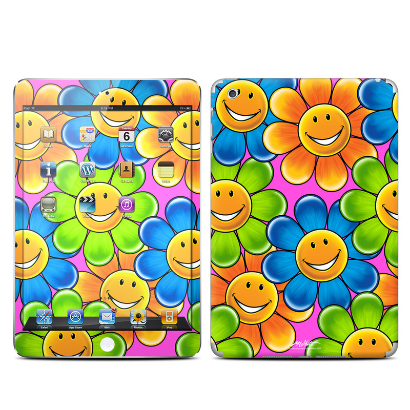 iPad mini 1 Skin design of Emoticon, Smiley, Yellow, Pattern, Circle, Design, Icon, Visual arts, Smile, Symmetry with orange, green, blue, black colors
