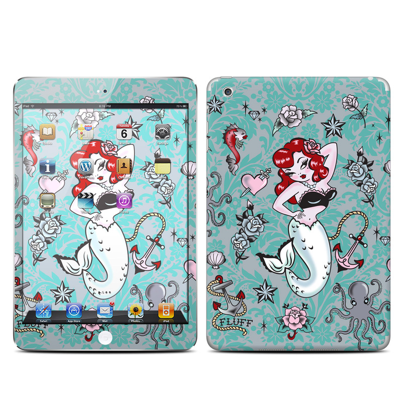 iPad mini 1 Skin design of Mermaid, Illustration, Fictional character, Organism, Art, Pattern, Style with gray, blue, black, red, white, pink colors