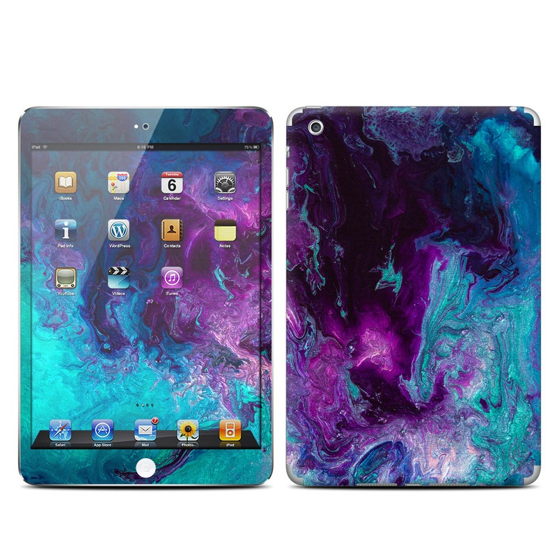 iPad mini 1 Skin design of Blue, Purple, Violet, Water, Turquoise, Aqua, Pink, Magenta, Teal, Electric blue with blue, purple, black colors