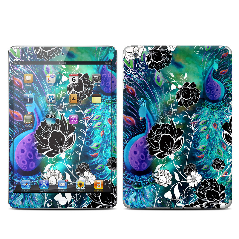iPad mini 1 Skin design of Pattern, Psychedelic art, Organism, Turquoise, Purple, Graphic design, Art, Design, Illustration, Fractal art with black, blue, gray, green, white colors