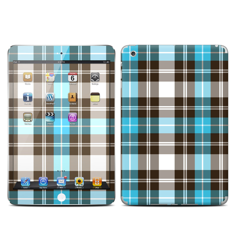 Turquoise Plaid iPad mini Skin