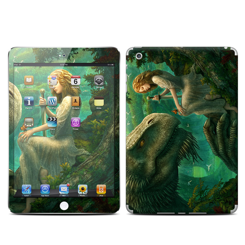 iPad mini 1 Skin design of Dinosaur, Cg artwork, Mythology, Fictional character, Troodon, Extinction, Velociraptor, Illustration, Animated cartoon, Tyrannosaurus with black, green, gray, red colors