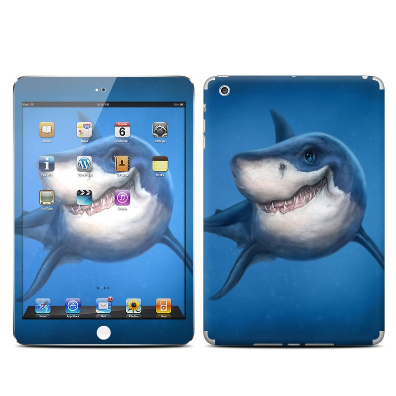 iPad mini 1 Skin design of Fish, Great white shark, Shark, Tiger shark, Cartilaginous fish, Requiem shark, Lamniformes, Bull shark, Carcharhiniformes with black, blue, gray colors
