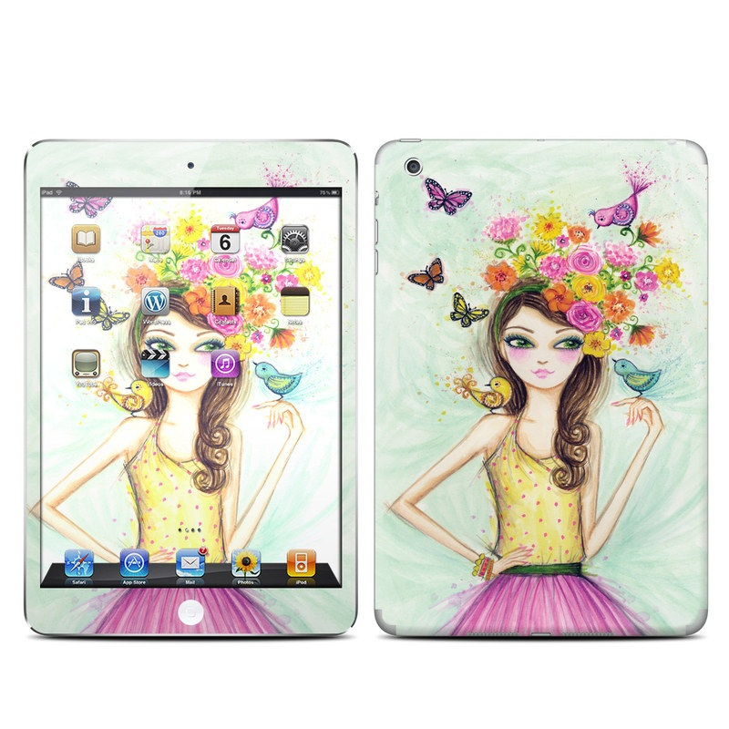 iPad mini 1 Skin design of Pink, Illustration, Fashion illustration, Watercolor paint, Fictional character, Dress, Hair accessory, Wildflower, Costume, Plant with blue, pink, yellow, orange, purple, brown, green colors