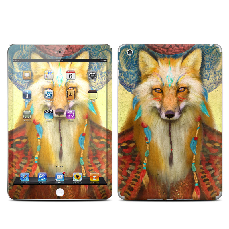 iPad mini 1 Skin design of Red fox, Canidae, Fox, Wildlife, Swift fox, Carnivore, Jackal, Fur, Snout, Art with red, black, gray, green, blue colors