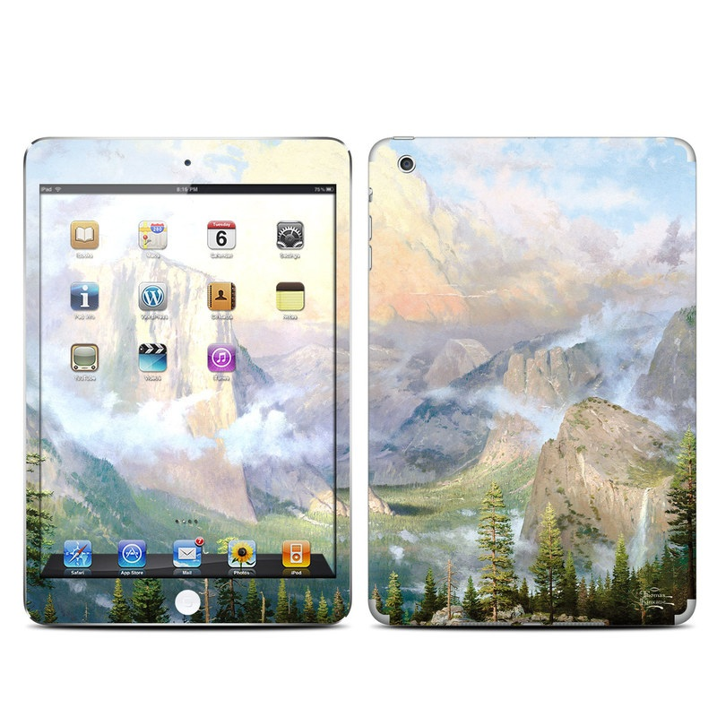 iPad mini 1 Skin design of Mountainous landforms, Natural landscape, Mountain, Nature, Sky, Painting, Highland, Atmospheric phenomenon, Wilderness, Valley with gray, black, pink, purple, yellow, green colors
