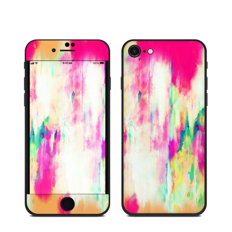 iPhone SE Skin design of Pink, Magenta, Art, Watercolor paint, Dye, Visual arts, Pattern, Modern art, Painting, Acrylic paint with red, white, green colors