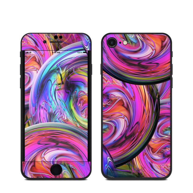 iPhone SE Skin design of Pattern, Psychedelic art, Purple, Art, Fractal art, Design, Graphic design, Colorfulness, Textile, Visual arts with purple, black, red, gray, blue, green colors