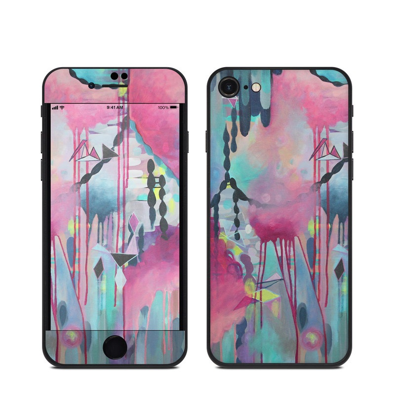 iPhone SE Skin design of Painting, Pink, Acrylic paint, Watercolor paint, Modern art, Art, Visual arts, Flower, Magenta, Design with gray, purple, blue, black, red colors