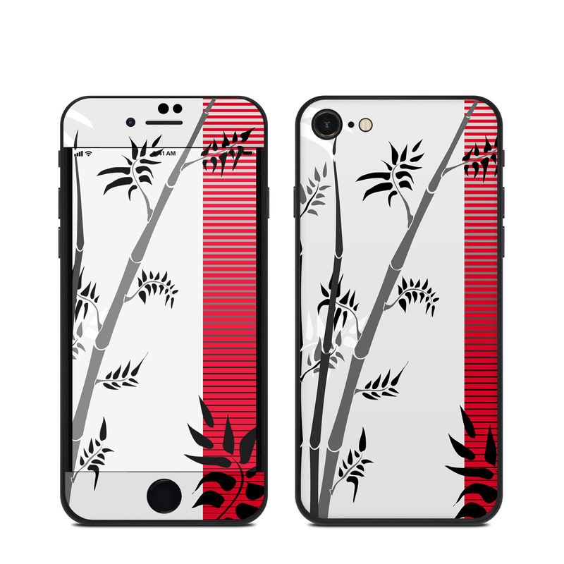 iPhone SE Skin design of Botany, Plant, Branch, Plant stem, Tree, Bamboo, Pedicel, Black-and-white, Flower, Twig with gray, red, black, white colors