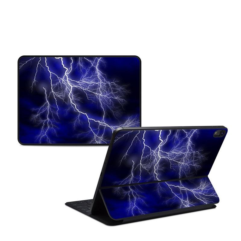 iPad Pro 11-inch Smart Keyboard Folio Skin design of Thunder, Lightning, Thunderstorm, Sky, Nature, Electric blue, Atmosphere, Daytime, Blue, Atmospheric phenomenon with blue, black, white colors