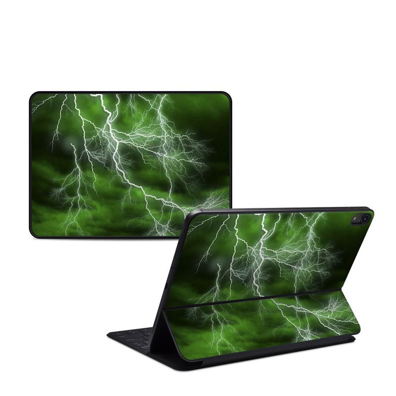 iPad Pro 11-inch Smart Keyboard Folio Skin design of Thunderstorm, Thunder, Lightning, Nature, Green, Water, Sky, Atmosphere, Atmospheric phenomenon, Daytime with green, black, white colors