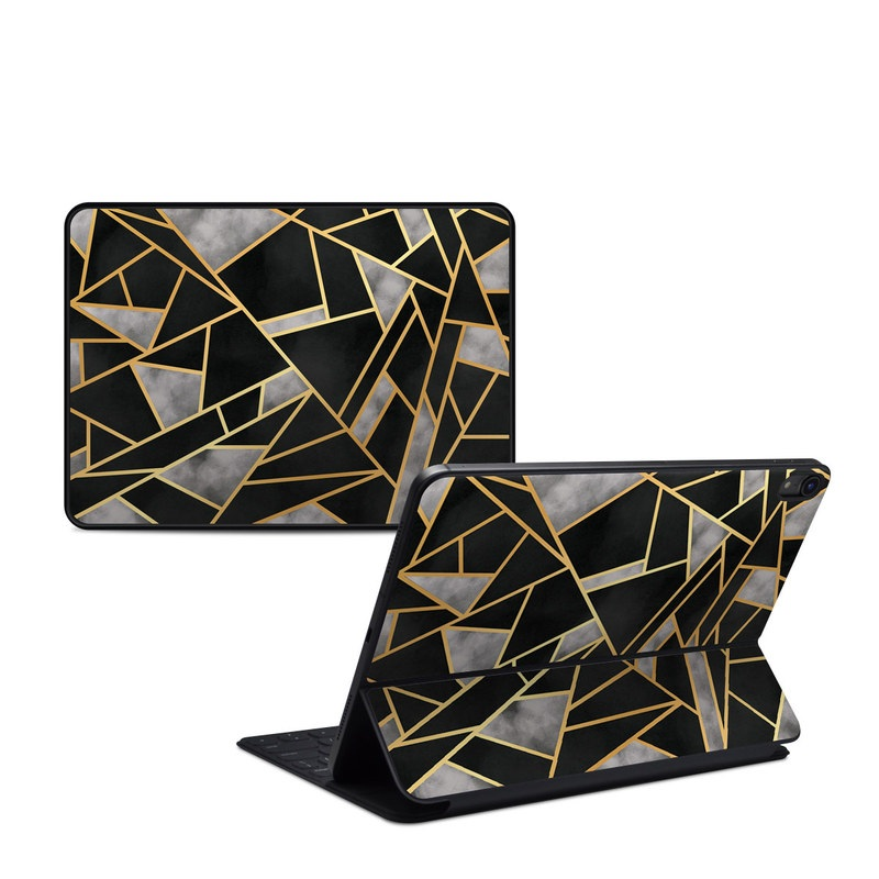 iPad Pro 11-inch 1st Gen Smart Keyboard Folio Skin design of Pattern, Triangle, Yellow, Line, Tile, Floor, Design, Symmetry, Architecture, Flooring with black, gray, yellow colors