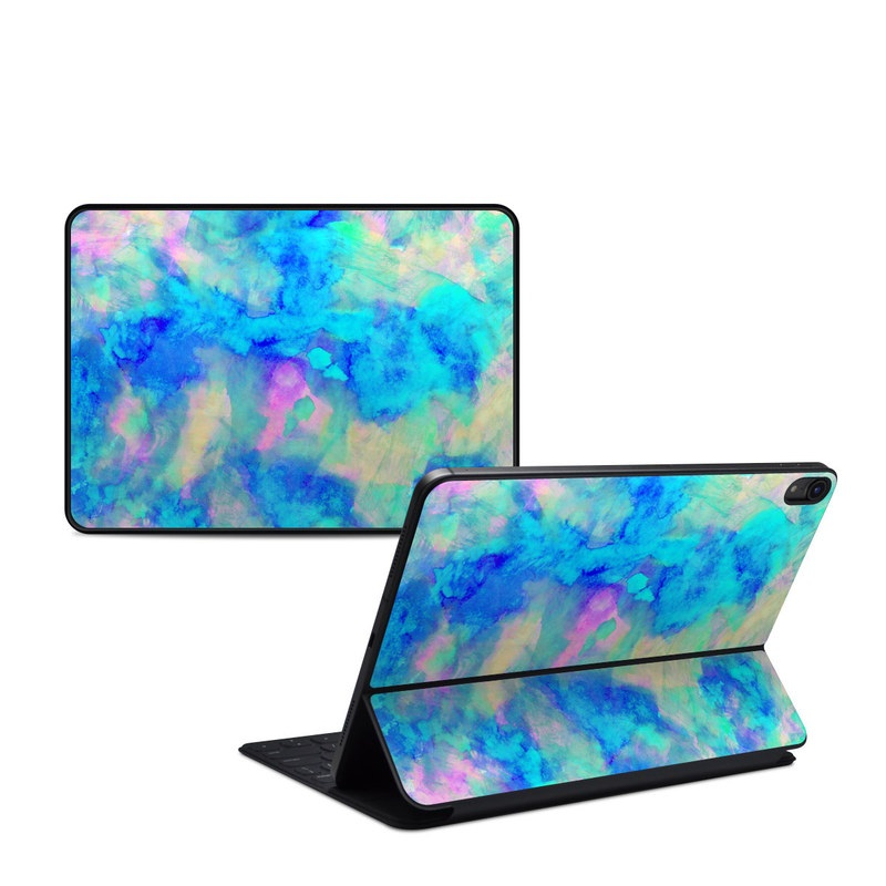 iPad Pro 11-inch Smart Keyboard Folio Skin design of Blue, Turquoise, Aqua, Pattern, Dye, Design, Sky, Electric blue, Art, Watercolor paint with blue, purple colors