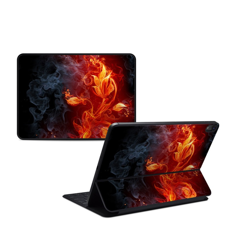 iPad Pro 11-inch Smart Keyboard Folio Skin design of Flame, Fire, Heat, Red, Orange, Fractal art, Graphic design, Geological phenomenon, Design, Organism with black, red, orange colors
