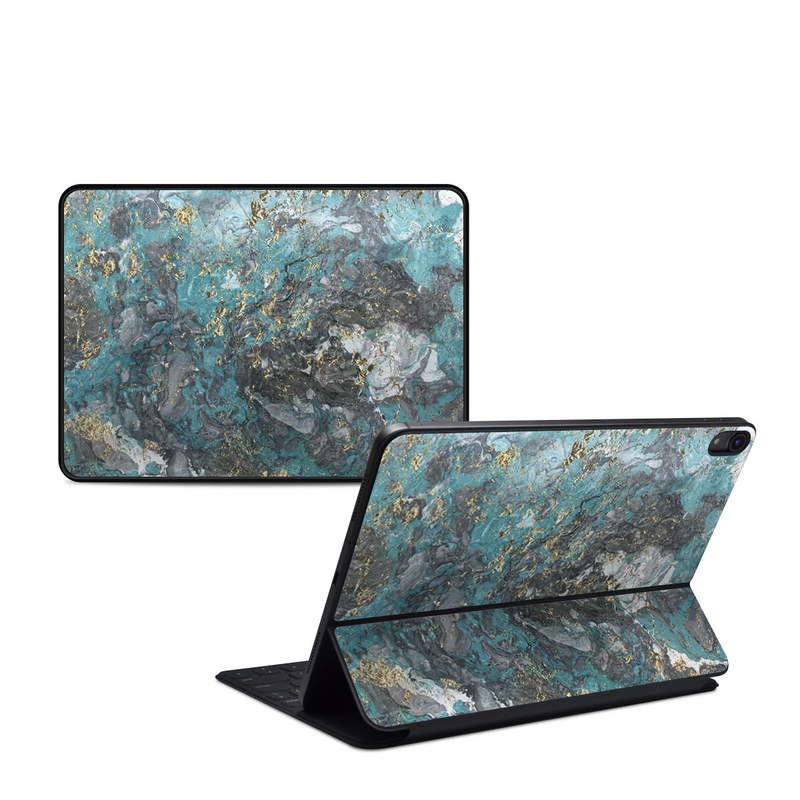 iPad Pro 11-inch 1st Gen Smart Keyboard Folio Skin design of Blue, Turquoise, Green, Aqua, Teal, Geology, Rock, Painting, Pattern with black, white, gray, green, blue colors