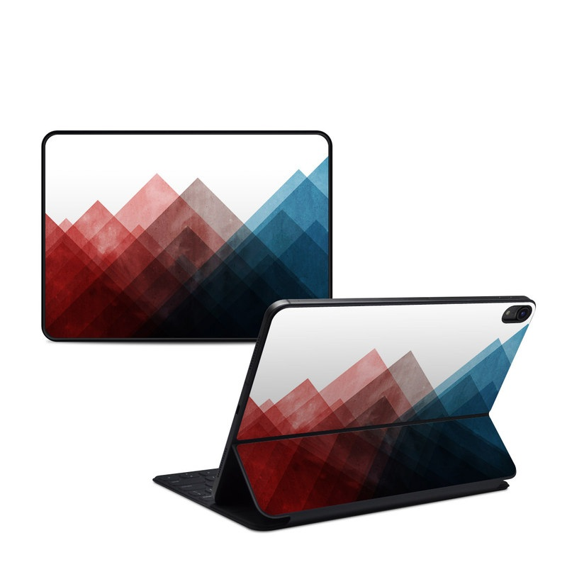 iPad Pro 11-inch 1st Gen Smart Keyboard Folio Skin design of Blue, Red, Sky, Pink, Line, Architecture, Font, Graphic design, Colorfulness, Illustration with red, pink, blue colors