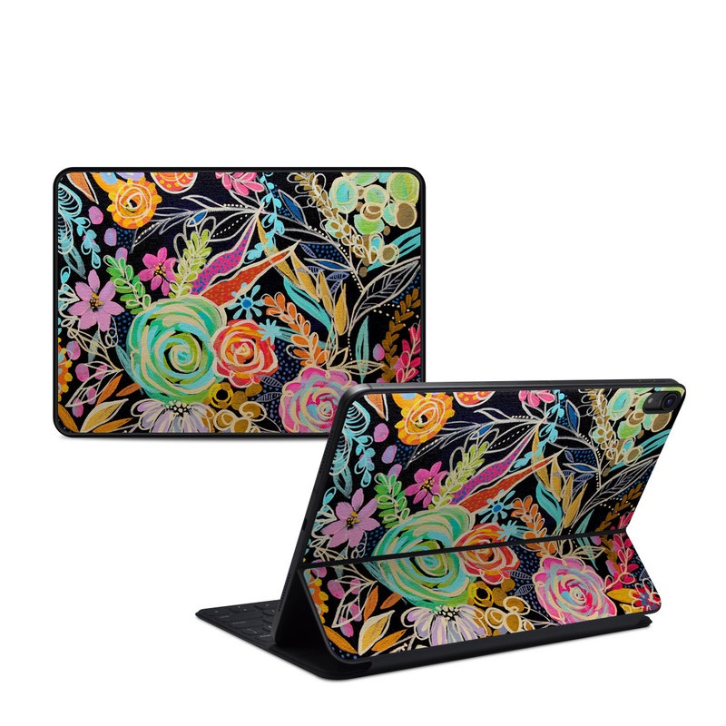 iPad Pro 11-inch 1st Gen Smart Keyboard Folio Skin design of Pattern, Floral design, Design, Textile, Visual arts, Art, Graphic design, Psychedelic art, Plant with black, gray, green, red, blue colors