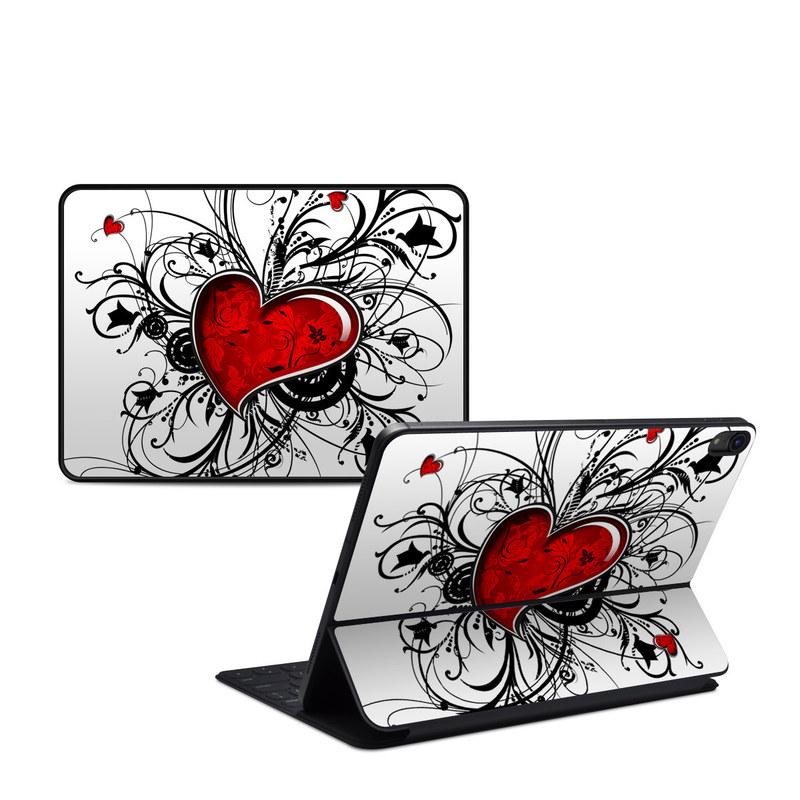 iPad Pro 11-inch 1st Gen Smart Keyboard Folio Skin design of Heart, Line art, Love, Clip art, Plant, Graphic design, Illustration with white, gray, black, red colors