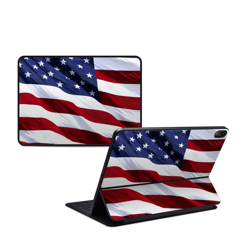 iPad Pro 11-inch Smart Keyboard Folio Skin design of Flag, Flag of the united states, Flag Day (USA), Veterans day, Memorial day, Holiday, Independence day, Event with red, blue, white colors
