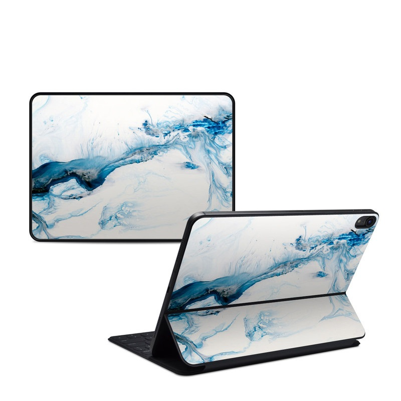 iPad Pro 11-inch 1st Gen Smart Keyboard Folio Skin design of Glacial landform, Blue, Water, Glacier, Sky, Arctic, Ice cap, Watercolor paint, Drawing, Art with white, blue, black colors