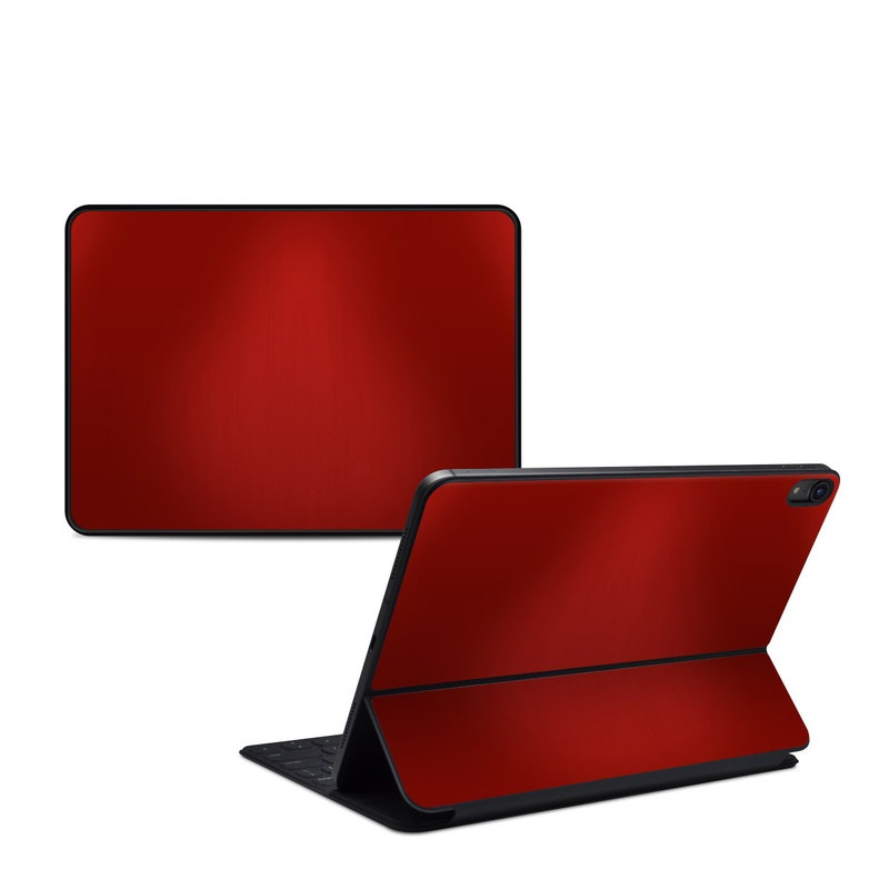 iPad Pro 11-inch 1st Gen Smart Keyboard Folio Skin design of Red, Maroon, Orange, Brown, Peach, Pattern, Magenta with red colors