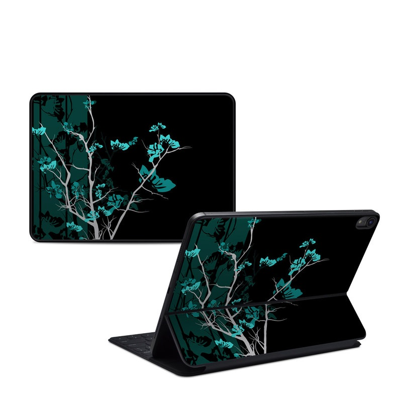 iPad Pro 11-inch Smart Keyboard Folio Skin design of Branch, Black, Blue, Green, Turquoise, Teal, Tree, Plant, Graphic design, Twig with black, blue, gray colors