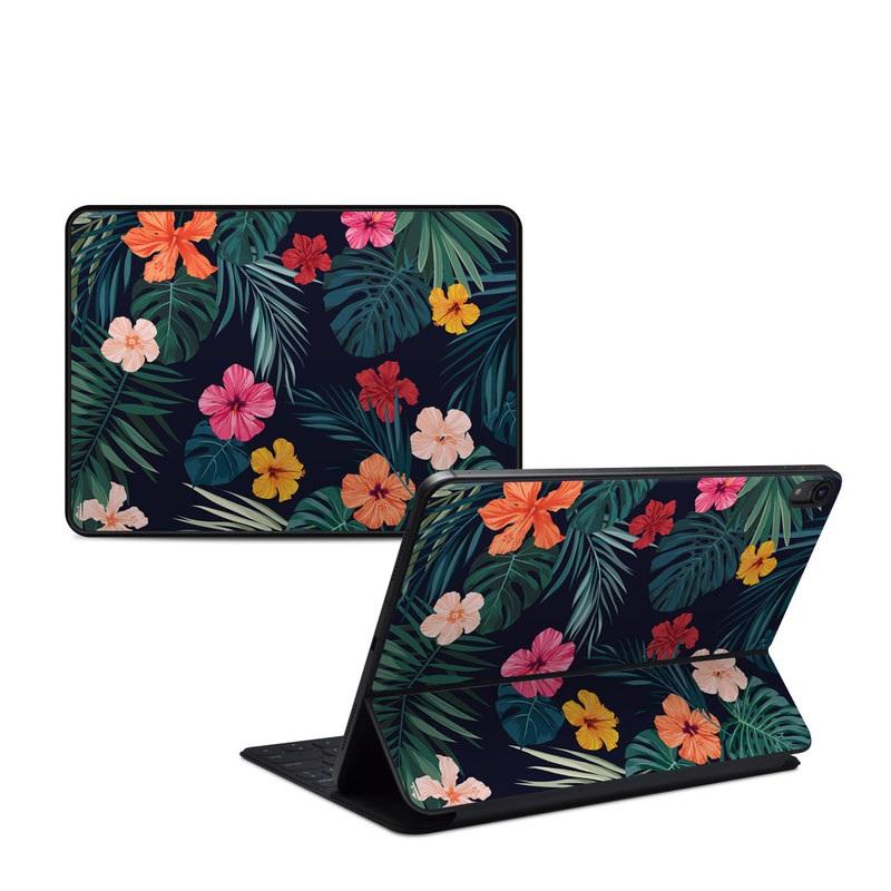 iPad Pro 11-inch 1st Gen Smart Keyboard Folio Skin design of Hawaiian hibiscus, Flower, Pattern, Plant, Leaf, Floral design, Botany, Design, Hibiscus, Petal with black, green, red, pink, orange, yellow, white colors