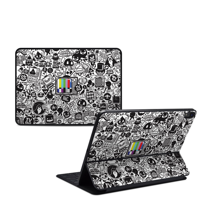 iPad Pro 11-inch 1st Gen Smart Keyboard Folio Skin design of Pattern, Drawing, Doodle, Design, Visual arts, Font, Black-and-white, Monochrome, Illustration, Art with gray, black, white colors