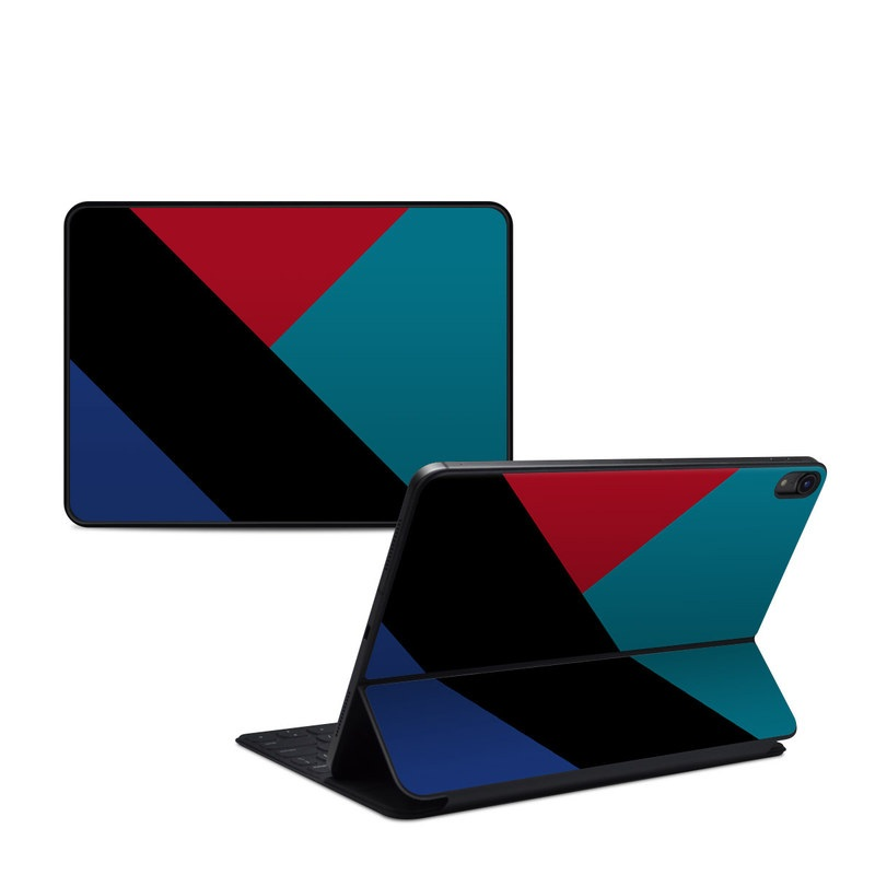 iPad Pro 11-inch 1st Gen Smart Keyboard Folio Skin design of Blue, Green, Turquoise, Azure, Teal, Electric blue, Line, Pattern, Design, Graphic design with black, blue, red colors