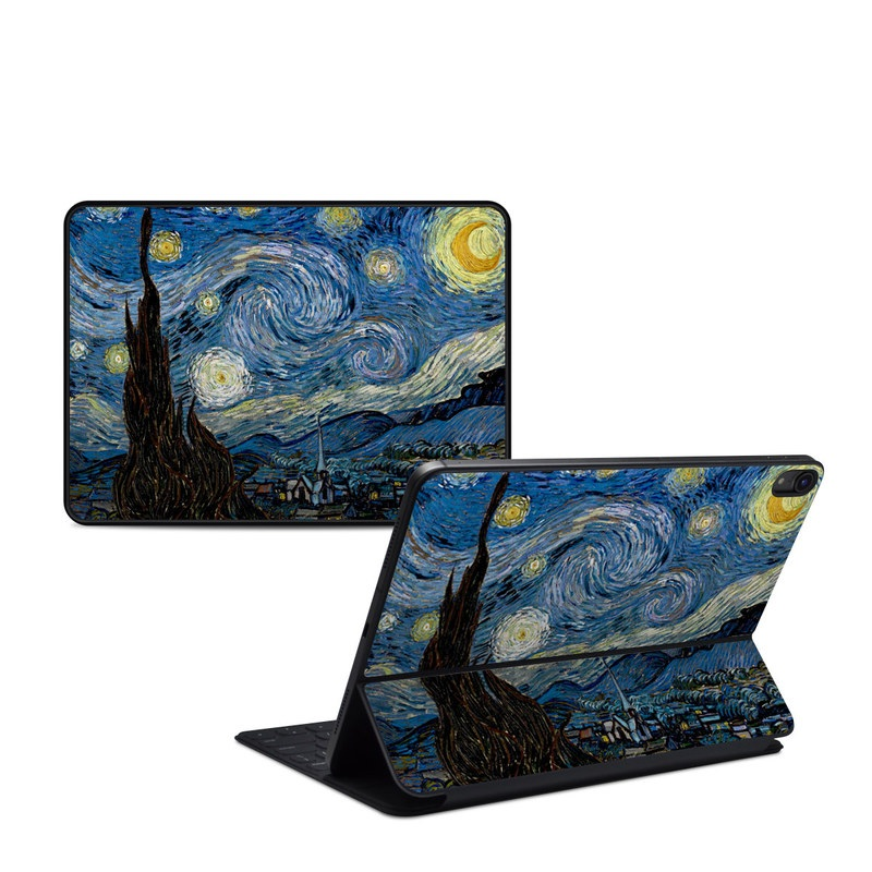 iPad Pro 11-inch 1st Gen Smart Keyboard Folio Skin design of Painting, Purple, Art, Tree, Illustration, Organism, Watercolor paint, Space, Modern art, Plant with gray, black, blue, green colors