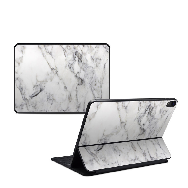 iPad Pro 11-inch 1st Gen Smart Keyboard Folio Skin design of White, Geological phenomenon, Marble, Black-and-white, Freezing with white, black, gray colors