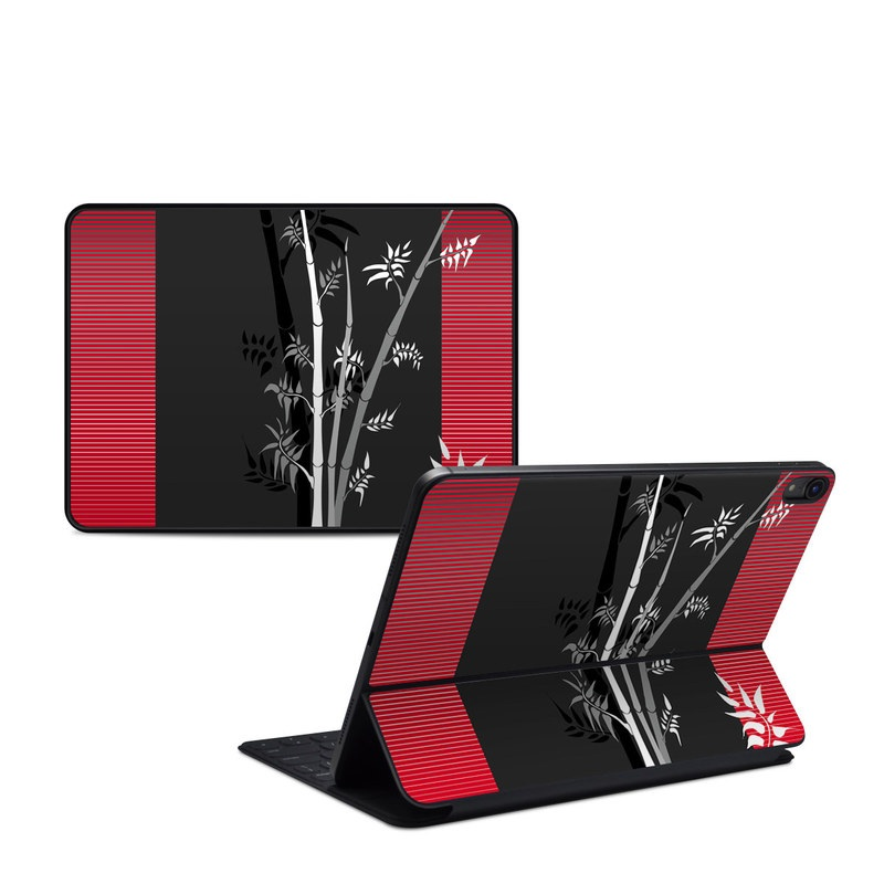 iPad Pro 11-inch 1st Gen Smart Keyboard Folio Skin design of Tree, Branch, Plant, Graphic design, Bamboo, Illustration, Plant stem, Black-and-white with black, red, gray, white colors