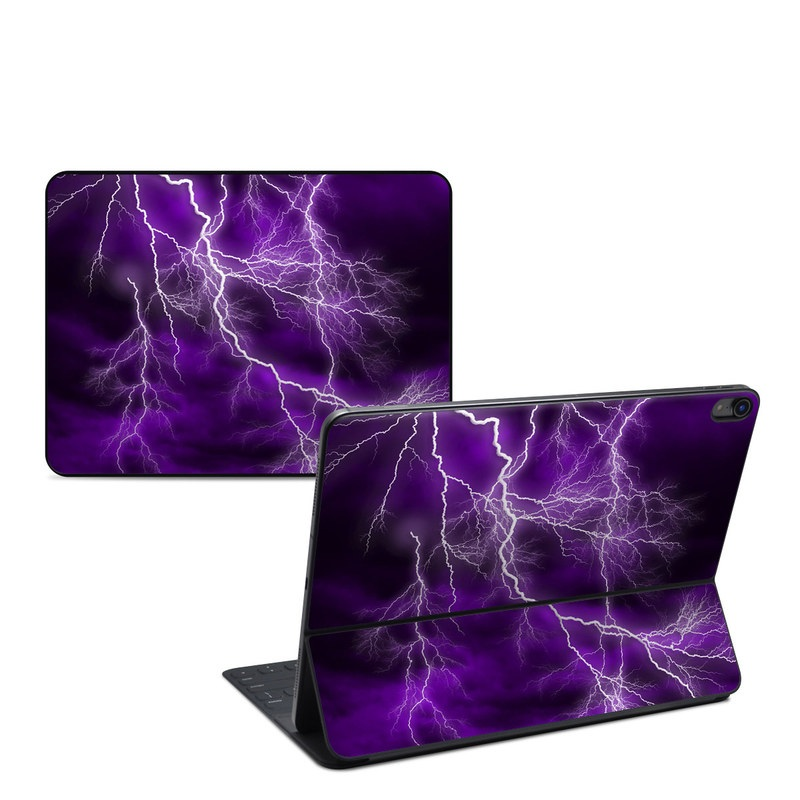 iPad Pro 12.9-inch Smart Keyboard Folio Skin design of Thunder, Lightning, Thunderstorm, Sky, Nature, Purple, Violet, Atmosphere, Storm, Electric blue with purple, black, white colors