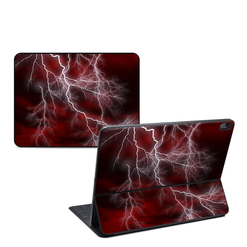 iPad Pro 12.9-inch Smart Keyboard Folio Skin design of Thunder, Thunderstorm, Lightning, Red, Nature, Sky, Atmosphere, Geological phenomenon, Lighting, Atmospheric phenomenon with red, black, white colors