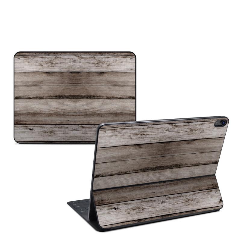 iPad Pro 12.9-inch 3rd Gen Smart Keyboard Folio Skin design of Wood, Plank, Wood stain, Hardwood, Line, Pattern, Floor, Lumber, Wood flooring, Plywood with brown, black colors