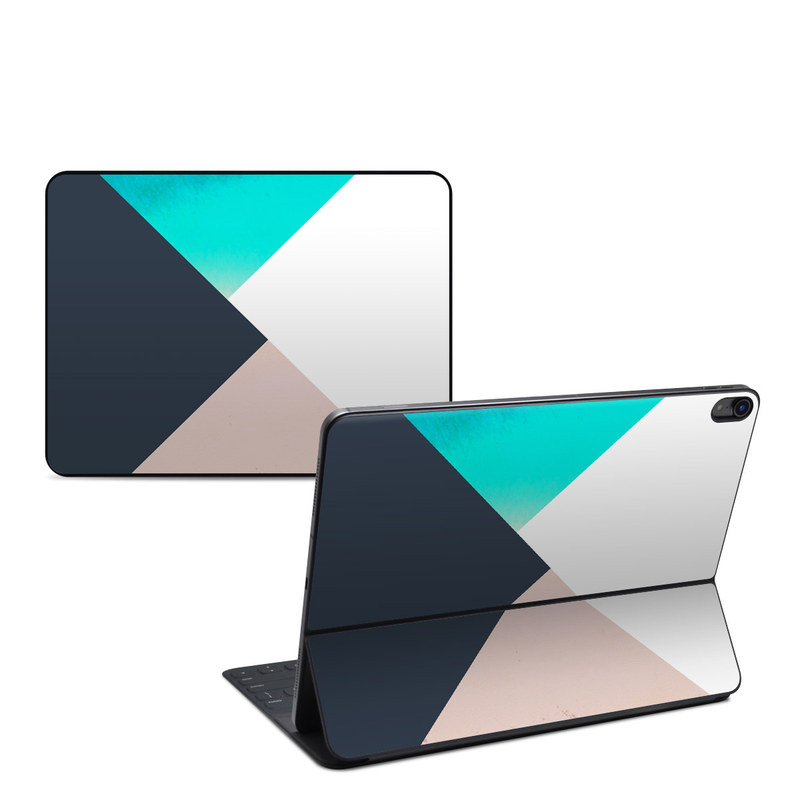 iPad Pro 12.9-inch 3rd Gen Smart Keyboard Folio Skin design of Blue, Turquoise, Aqua, Line, Triangle, Design, Material property, Graphic design, Pattern, Architecture with black, white, brown, blue colors