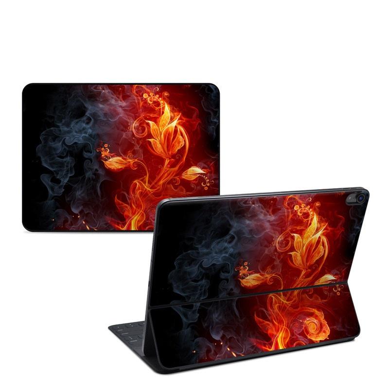 iPad Pro 12.9-inch Smart Keyboard Folio Skin design of Flame, Fire, Heat, Red, Orange, Fractal art, Graphic design, Geological phenomenon, Design, Organism with black, red, orange colors