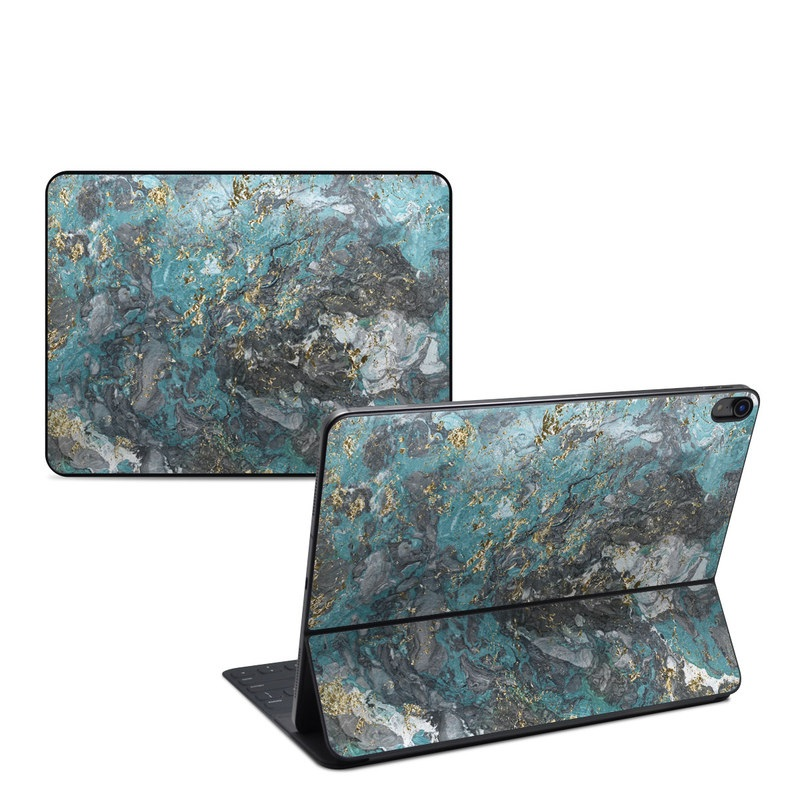 iPad Pro 12.9-inch 3rd Gen Smart Keyboard Folio Skin design of Blue, Turquoise, Green, Aqua, Teal, Geology, Rock, Painting, Pattern with black, white, gray, green, blue colors