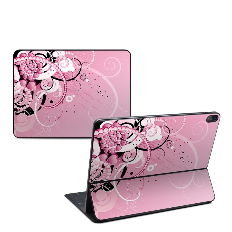 iPad Pro 12.9-inch Smart Keyboard Folio Skin design of Pink, Floral design, Graphic design, Text, Design, Flower Arranging, Pattern, Illustration, Flower, Floristry with pink, gray, black, white, purple, red colors
